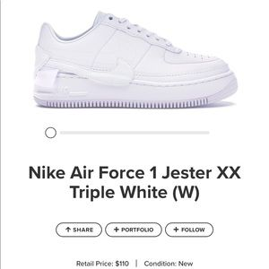 Nike white Air Force 1 jester xx